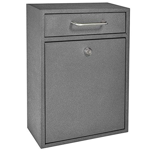 Mail Boss 7415 High Security Steel Locking Mailbox Comment Letter Deposit, Granite Wall Mounted Document Drop Box for Home and Office