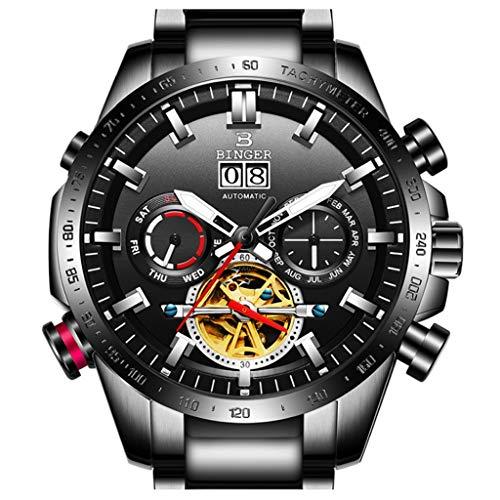 BINGER Orologio da Uomo Automatico Orologio Meccanico Impermeabile Multifunction Orologi da Polso Stile Sportivo con Funzione Calendario MS10003G (Color : Black strap)