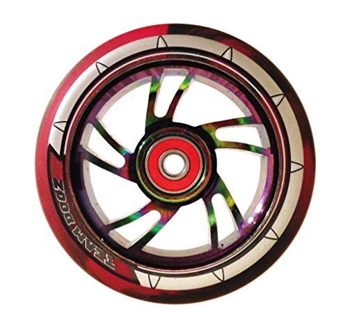 Rueda de patinete Team Dogz con diseño arcoíris, núcleo de aleación de 110mm y rodamientos mixtos de goma sintética y ABEC11, Nebula Rainbow Core, Black/Red PU