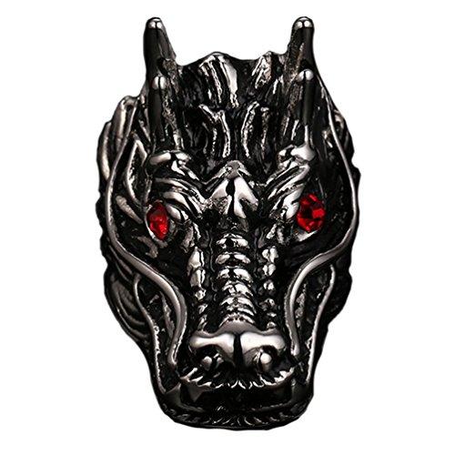PAURO Hombres de Acero Inoxidable Anillo de dragón Nacional con Diamante Rojo Tamaño 17