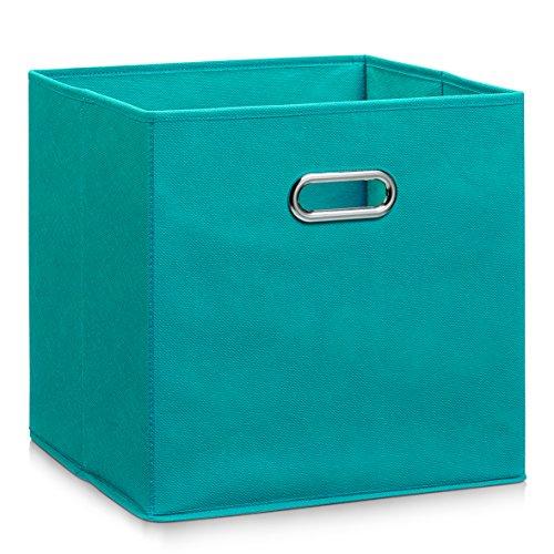 Zeller 14118 - Caja de almacenaje de tela, plegable, 32 x 32 x 32 cm, color petrol