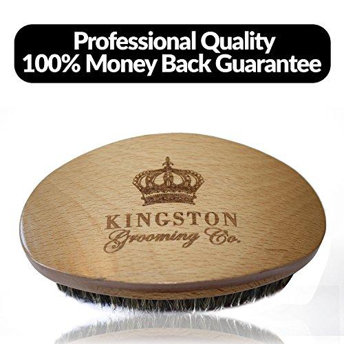 Brosse à vagues pour hommes - Brosse à cheveux 100% sanglier pour hommes, Brosse Perfect Edge et...