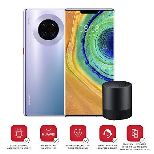 HUAWEI Mate 30 Pro Smartphone e Mini Bluetooth Speaker CM55, Quadrupla fotocamera 40+40+8 MP e Sensore TOF 3D, HUAWEI Mobile Services (HMS), Silver [Italia], Space Silver