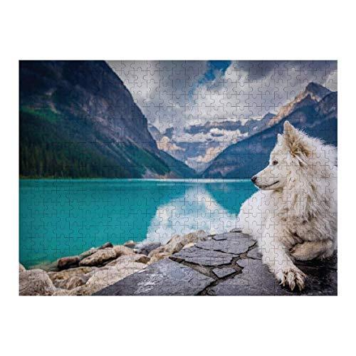 Heiwu Pussel 1000 delar vuxna pusseluppsättningar en vit hund sitter på klippan för barn vuxen utmaning pedagogisk stress