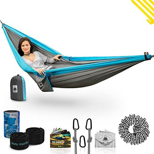 Lazy Monk Doble Camping Hamaca con árbol Correas   4en 1paracaídas para Colgar portátil para Exteriores Backpacking