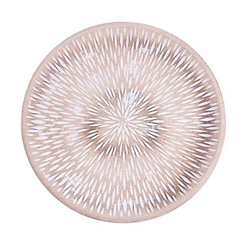 Flanacom Deko Tablett Dekoschale mit Verzierungen als Moderne Tischdekoration Tischdeko für die Wohnung (Rund Weiß 2)