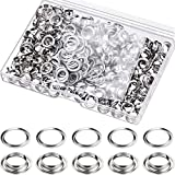 200 Pieces Metal Grommets Eyelets Self Backing with Flat Washer for Bead Clothes Leather Canvas Cores DIY Craft (6.35 mm, Silver)