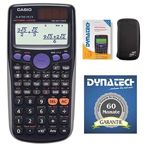 Casio FX-87 DE Plus Taschenrechner SET - mit Schutztasche CalcCase Tiny + Buch: Im Fokus II: QuickView, nicht programmierbarer wissenschaftlicher Schulrechner für Uni, Schule, Büro, Solar/Batterie