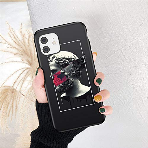 LIUYAWEI Fashion Art Abstract Phone Case para iPhone 12 11 Pro MAX Statue X XRXS A Prueba de Golpes 6 7 8 Plus SE 2020 Funda de Silicona TPU Suave, 10, para iPhone 6 o 6S