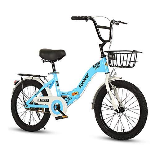 TopBlïng para 4-8 Años Niños,con Una Canasta Ruedas Auxiliares,20 Pulgadas Plegable Niños Bike,Simple Estilo Los Niños Ocio Bicicleta-Azul 20 Pulgadas