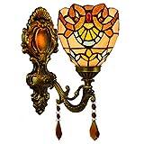 DALUXE Tiffany Apliques Interior 6inch lámpara británica Espejo baño clásico lámpara Pared Cristal Pastoral Barroco...