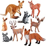 Woodland Animals Figurines Toys Cake Toppers, 8PCS Realistic Plastic Wild Forest Animals Figures with Deer, Raccoon, Rabbit, Kangaroo Figurines Playsets for Kids Children Toddlers