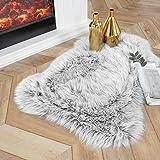 Ashler Soft Faux Sheepskin Fur Chair Couch Cover Area Rug Bedroom Floor Sofa Living Room Light Gray 2 x 3 Feet
