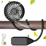 Hianjoo Ventilador Collar Portátil 【2020 Nuevo】, Mini Ventilador Escritorio Recargable USB Ventilador Colgante Ventilador Mano Personal con 3 Velocidades para Aire Libre, Camping, Oficina, Negro