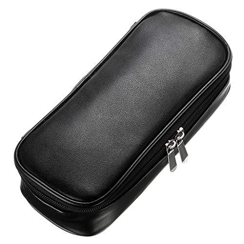 BTSKY - Astuccio portapenne multifunzionale in pelle ecologica in poliuretano con cerniera, custodia per penne e cancelleria di grande capacità, utile anche come borsetta per trucchi Nero