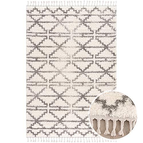 MyShop24 Teppich Wohnzimmer Hochflor - Creme Grau - 80x300cm - Deko Schlafzimmer - Soft Shaggy mit Fransen - Rauten Muster - Oeko Tex 100 Standard - Allergiker geeignet