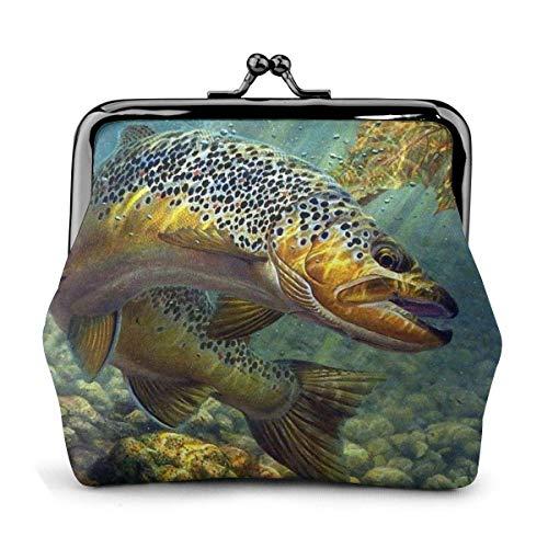 Fly Fish PU Cuero Exquisito Hebilla Monederos Monedero Vintage Clásico Beso-Cerradura Cambio Monedero Carteras Regalo