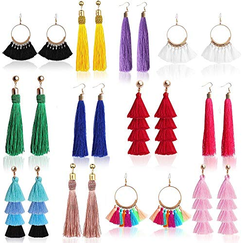 Outee 12 Pairs Tassel Earrings for Women Fashion Bohemian Earrings Colorful...