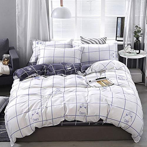 Lvvsovs king Bedding Sets Kids Clubhouse Super Soft Luxury 3 Piece White simple lattice in Classic Design Bedding Set - Duvet Cover, Pillow Cases 100% Microfiber 220 x 230 cm