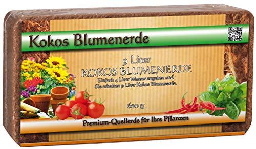Humusziegel - gepresste Kokos Blumenerde Ziegel ungedüngt - 100 L - 12 x 600 g