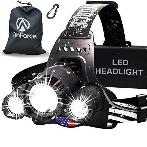 DanForce Headlamp. USB Rechargeable LED Head Lamp. Ultra Bright CREE