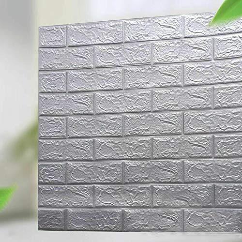 10 Stück 3D Fliesen Backstein Wandaufkleber Selbstklebende wasserdichte Schaumstoff-Tapete, 3D Backstein Wandaufkleber, Selbstklebende Polyethylenschaum Abnehmbare Tapete (Silber Grau)