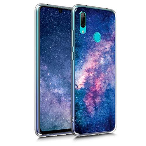 kwmobile Hülle kompatibel mit Huawei Y7 (2019) / Y7 Prime (2019) - Hülle Handy - Handyhülle Galaxie Sterne Rosa Pink Dunkelblau