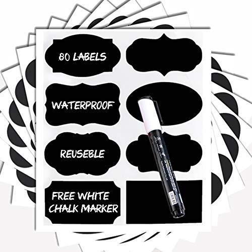 Svarta tavlan etiketter – 80 premium svart tavlan klistermärke + vit kritmarkör. Återanvändbara magnetiska etiketter med svarta tavlor, vinyletiketter för kök, etiketter för burkar, skafferietiketter, svarta tavlan-klistermärken.