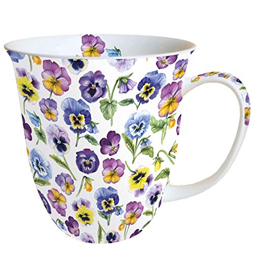 Ambiente Becher Mug Tasse Tee / Kaffee Becher ca. 0,4L Floral Pansy All Over