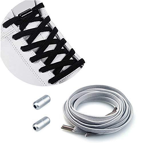 Elastici Lacci Delle Scarpe Lacci Senza Nodo No Tie Lacci Scarpe Rotondi Lacci Elastici con Chiusura in Metallo per Scarpe da Ginnastica/Scarpe da Corsa/Scarpe Casual Lacci Fermagli Fibbie in Metallo