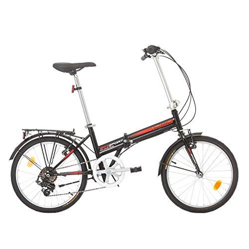 NOMAD 20 Zoll Herren Damen Klapprad Faltrad Fahrrad Shimano 6 GANG (Schwarz)