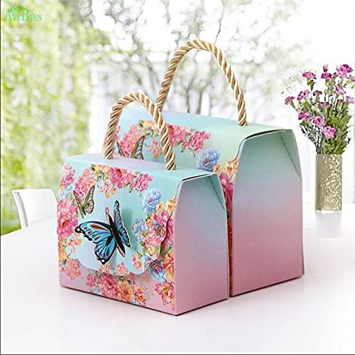 XIAOQIAO Evento de Boda Bolsas de Regalo Postre decoración Mariposa Flores Papel Caramelo Caja de Caramelo para decoración de Boda Hermoso Regalo 50pcs (Color, Gift Box Size : 70x40x90mm)