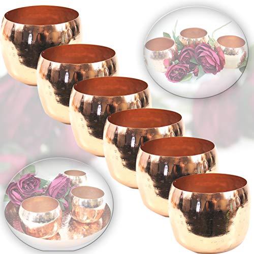 EDLES MAROKKANISCHES WINDLICHT Set Kupfer - 6 STÜCK in Hammerschlag Optik Orient Schalen Kerzen x6