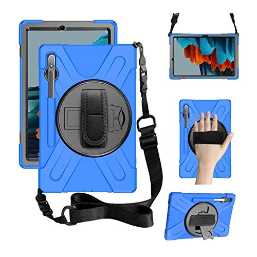 ZenRich Galaxy Tab S7 Case 11 inch 2020, zenrich SM-T870/T875 Case with S Pen Holder Heavy Duty Shockproof Rugged Case with Stand Hand Strap and Shoulder Belt for Samsung Galaxy Tab S7 11 Inch-Blue