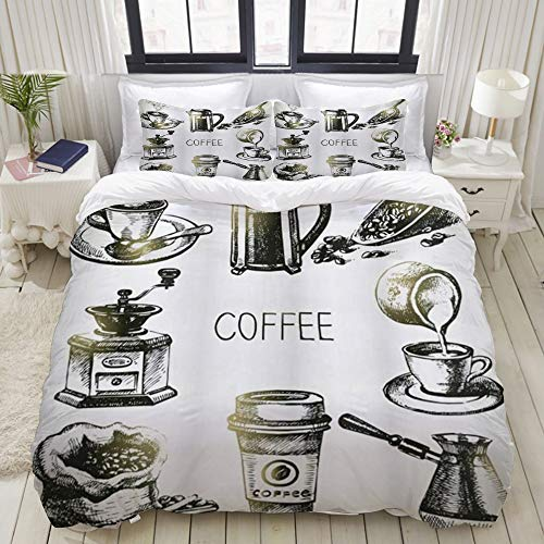 Yaoniii bedding - Duvet Cover Set, Coffee Brewing Equipment Doodle Sketch Grinder French Press Plastic Cup Scoop Vintage,3-Piece Comforter Cover Set 135 x 200 cm +2 Pillowcases 50 * 80cm