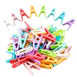 56 PCS Clothespins Plastic Colorful Small Clips , 8 Bright Colors Clothes Drying Line Pegs Mini Clothes Pins Clothesline Crafts Photos Paper Picture Towel Clips Clothes Pin (8 Colors)