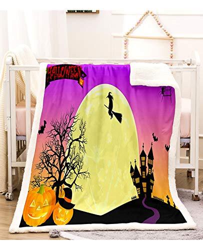 GJX Koc Woollen Blanket Halloween koc pomarańczowy dynia koc czarny Sherpa koc polarowy karykatura koc do sypialni kanapa Bedding Accessories (kolor : D, rozmiar: 150 * 130 cm)