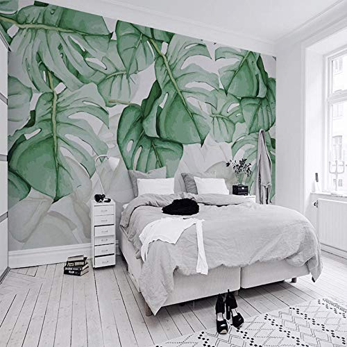Einfaches modernes monstera Fernsehhintergrund-Wandtuch des tropischen Regenwaldart-Wandgemäldes nordische Wohnzimmer-Schlafzimmertapete fototapete 3d effekt tapete tapeten wald vintage-430cm×300cm