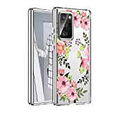 WATACHE Galaxy Note 20 Ultra Case, Clear Crystal Floral Flower Full Body 3 in 1 Heavy Duty Hybrid Sturdy Armor High Impact Shockproof Protective Cover Case for Galaxy Note 20 Ultra,Pink