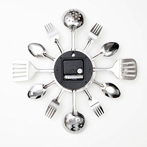 Bits and Pieces - Contemporary Kitchen Utensil Clock-Silver-Toned Forks, Spoons, Spatulas Wall Clock - Kitchen Décor…