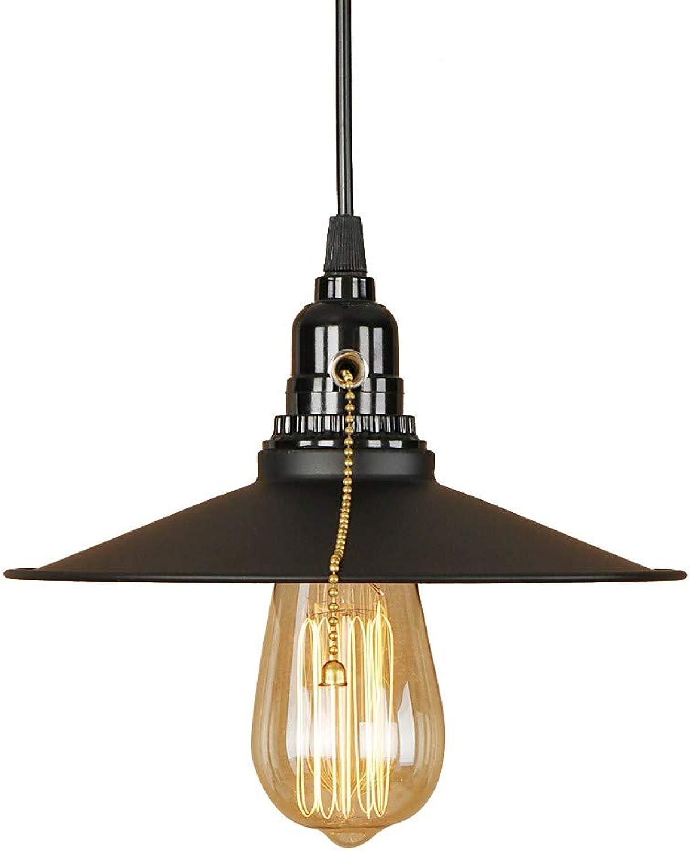 Moderne Pendelleuchte LED E27 mit 3 Farben klassische Retro-Hngelampe mit Schalter für Wohnzimmer Schlafzimmer Hotel Restaurant Bar, schwarz