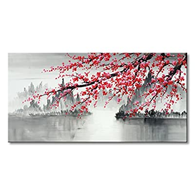 Traditional Chinese Painting Hand Painted Plum Blossom Canvas Wall Art Modern Black and White Landscape Oil Painting for Living Room Bedroom Office Decoration by Seekland Painting
