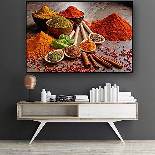 N / A Bunte Körner Gewürze Löffel Küche Leinwand Malerei Cuadros Skandinavische Plakate und Drucke Wandkunst Lebensmittel Bild Wohnzimmer 60x80 cm Kein Rahmen