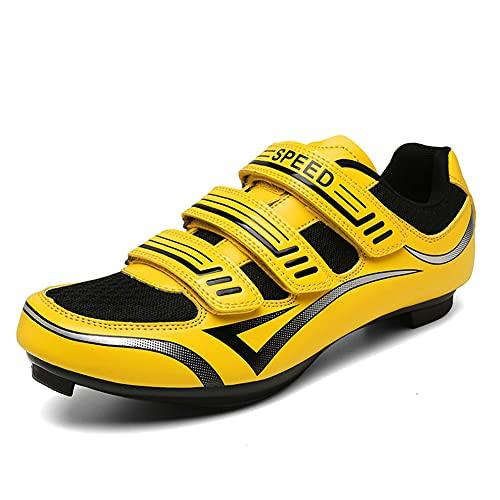 Scarpe da Ciclismo Uomo per Bici Strada con Tacchetti Scarpe da Donna per Peloton Scarpe da Corsa per Bici SPD Yellow 235
