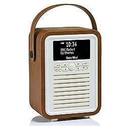 VQ Retro Mini HD Digital Radio with AM & FM, Bluetooth & Alarm Clock – Brown