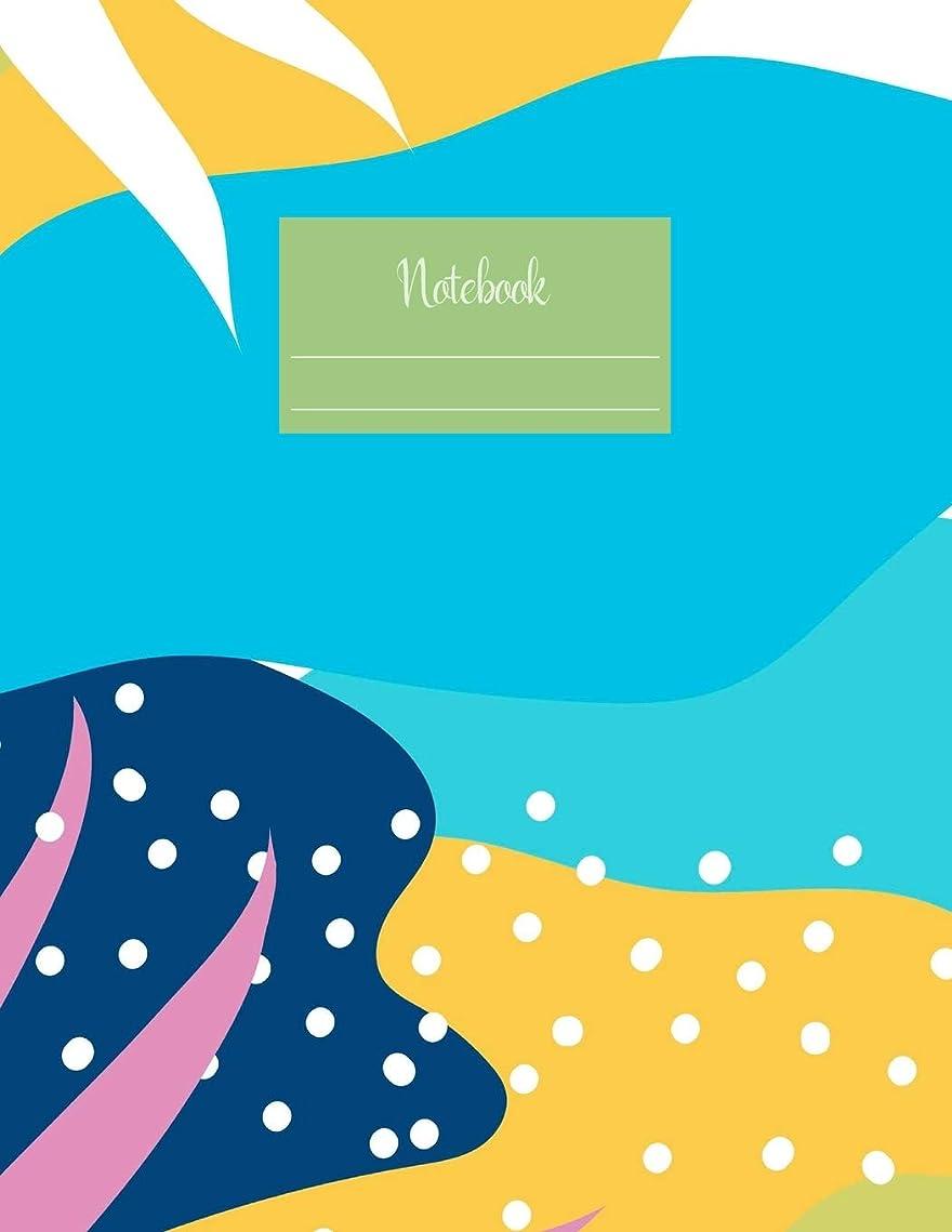アクション滝補償Notebook: Large notebook with 120 Lined pages. Wide ruled. Ideal for School notes, Journaling, Hand lettering, Calligraphy practice. Perfect gift. 8.5' x 11.0' (Large). (Summer abstract illustration cover).