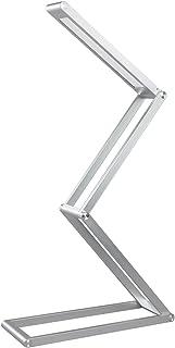 Elzo Lámpara de Mesa Portátil de Aluminio, Lámpara LED Escritorio USB Recargable con 3 Niveles de Brillo y Múltiples Ángulos Ajustables, Lámpara de Lectura Cuidado de Ojos, Plata