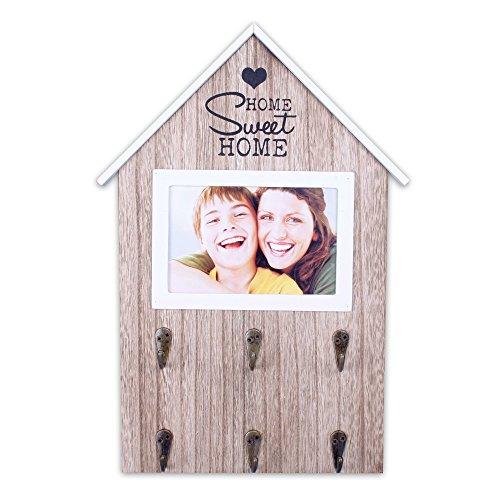 """Schlüsselbrett """"HOME [sweet]HOME"""" aus Holz mit 6 Haken + Fotorahmen 10x15"""