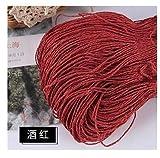SXYRN 500 g/Lote Hilo de Hilo de Verano para Tejer Hilo de Paja de Rafia Hilo de Ganchillo para Sombreros Hechos a Mano cestas artesanías (Color: Rojo Vino)