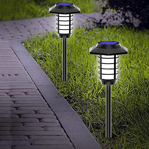 WJHMB Luz de Llama Solar de Exteriores IP65 Impermeable 12 LED Luz Solar con Decoración de ON/Off Automático para Jardín, Camino, Fiesta